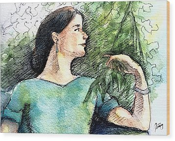 Mary In The Garden Wood Print by Mary Fanning