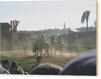 Maryland Renaissance Festival - Jousting And Sword Fighting - 1212139 Wood Print by DC Photographer