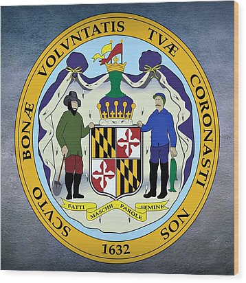 Maryland State Seal Wood Print by Movie Poster Prints