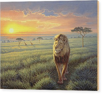 Masai Mara Sunset Wood Print by Paul Krapf