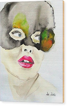 Mask In Watercolor Wood Print by Jacqueline Schreiber