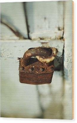 Master Lock Wood Print by Rebecca Sherman