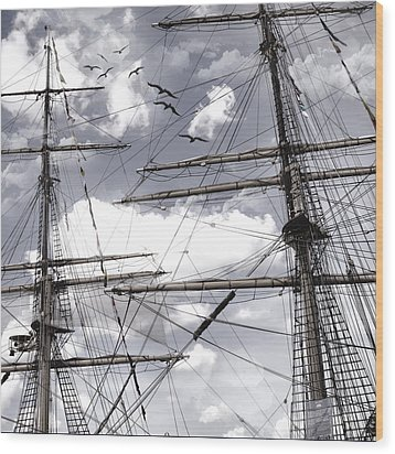 Masts Of Sailing Ships Wood Print by Evie Carrier