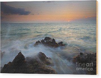 Maui Tidal Swirl Wood Print by Mike  Dawson