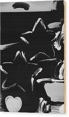 Max Two Stars In Black And White Wood Print by Rob Hans