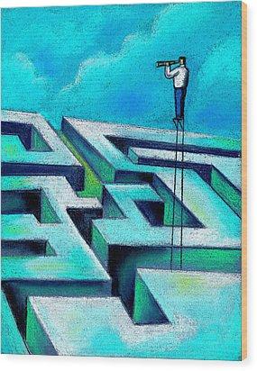 Maze Wood Print by Leon Zernitsky