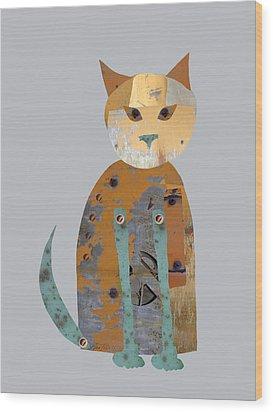 Mechanical Cat Wood Print by Ann Powell