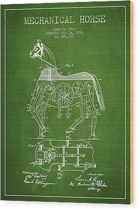 Mechanical Horse Patent Drawing From 1893 - Green Wood Print by Aged Pixel