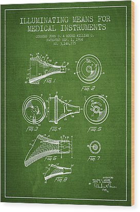 Medical Instrument Patent From 1964 - Green Wood Print by Aged Pixel