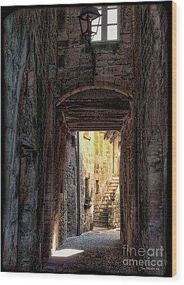 Medieval Alley Wood Print by Joan  Minchak