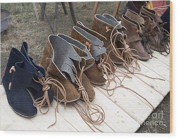 Medieval Fashion Shoes Wood Print by Ladi  Kirn