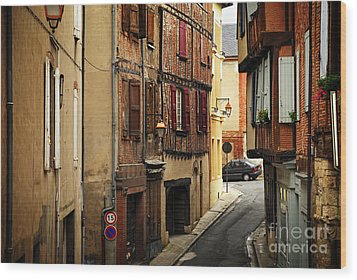 Medieval Street In Albi France Wood Print by Elena Elisseeva