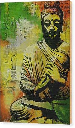 Meditating Buddha Wood Print by Corporate Art Task Force