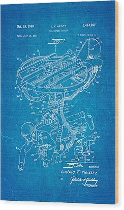 Meditz Helicopter Device Patent Art 1969 Blueprint Wood Print by Ian Monk