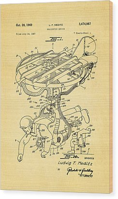 Meditz Helicopter Device Patent Art 1969 Wood Print by Ian Monk