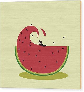 Melon Splash Wood Print by Neelanjana  Bandyopadhyay