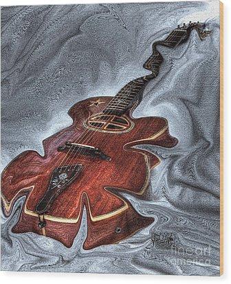 Melted Digital Guitar Art By Steven Langston Wood Print by Steven Lebron Langston