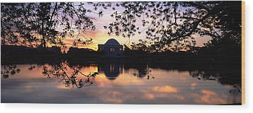 Memorial At The Waterfront, Jefferson Wood Print by Panoramic Images