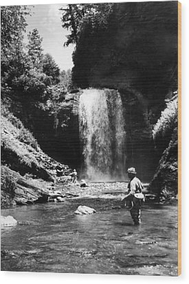 Men Trout Fishing Wood Print by Retro Images Archive
