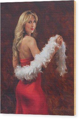 Meri In Red Wood Print by Anna Rose Bain