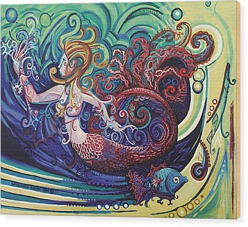 Mermaid Gargoyle Wood Print by Genevieve Esson