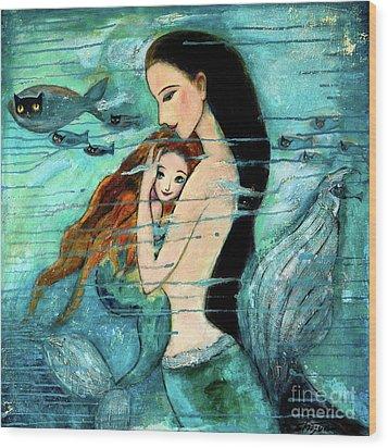 Mermaid Mother And Child Wood Print by Shijun Munns