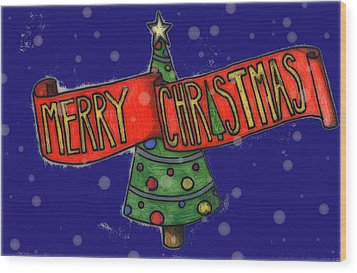 Merry Christmas Tree Wood Print by Jame Hayes