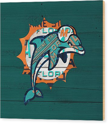 Miami Dolphins Football Team Retro Logo Florida License Plate Art Wood Print by Design Turnpike
