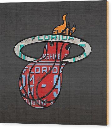 Miami Heat Basketball Team Retro Logo Vintage Recycled Florida License Plate Art Wood Print by Design Turnpike