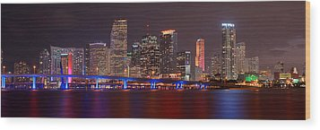 Miami Skyline At Night Panorama Color Wood Print by Jon Holiday