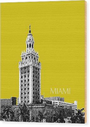 Miami Skyline Freedom Tower - Mustard Wood Print by DB Artist