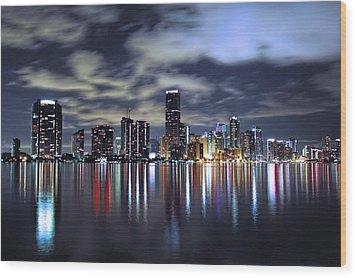 Miami Skyline Wood Print by Gary Dean Mercer Clark