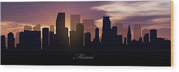 Miami Sunset Wood Print by Aged Pixel