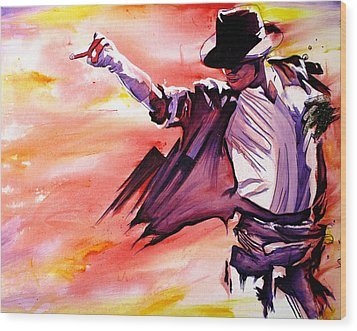 Michael Jackson-billie Jean Wood Print by Joshua Morton