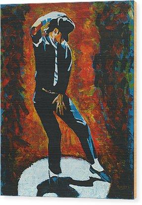 Michael Jackson Dancing The Dream Wood Print by Patrick Killian