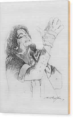 Michael Jackson Passion Sketch Wood Print by David Lloyd Glover