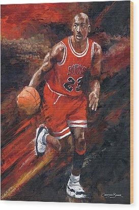 Michael Jordan Chicago Bulls Basketball Legend Wood Print by Christiaan Bekker