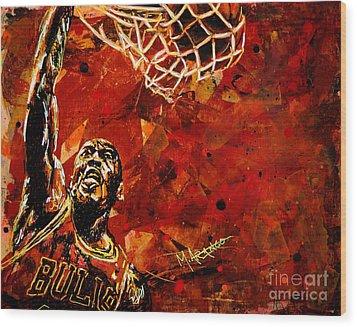 Michael Jordan Wood Print by Maria Arango