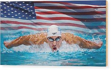 Michael Phelps Artwork Wood Print by Sheraz A