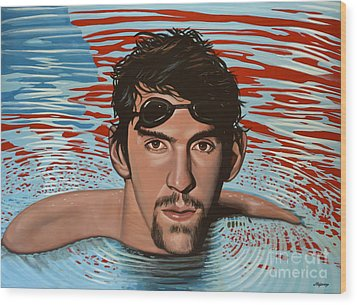 Michael Phelps Wood Print by Paul Meijering