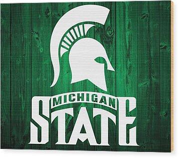 Michigan State Barn Door Wood Print by Dan Sproul