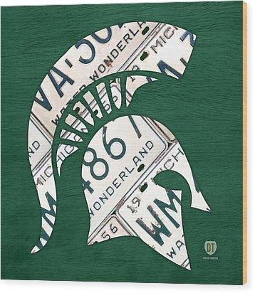 Michigan State Spartans Sports Retro Logo License Plate Fan Art Wood Print by Design Turnpike