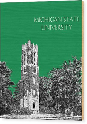Michigan State University - Forest Green Wood Print by DB Artist