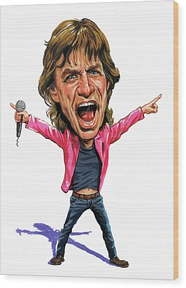 Mick Jagger Wood Print by Art