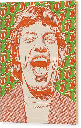 Mick Jagger Pop Art Wood Print by Jim Zahniser