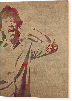Mick Jagger Rolling Stones Watercolor Portrait On Worn Distressed Canvas Wood Print by Design Turnpike
