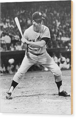Mickey Mantle At Bat Wood Print by Underwood Archives