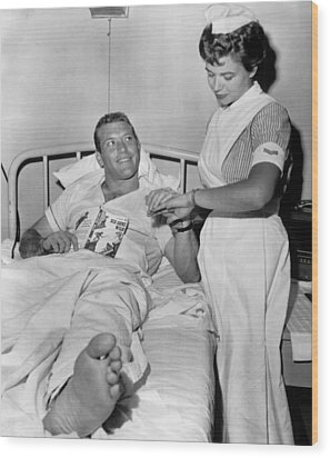 Mickey Mantle In Hospital With Nurse Wood Print by Retro Images Archive