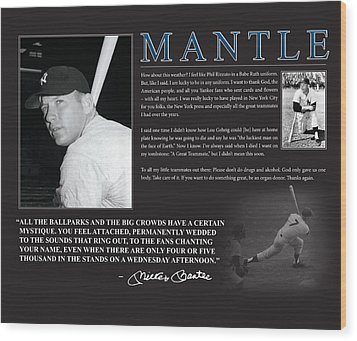 Mickey Mantle Wood Print by Retro Images Archive