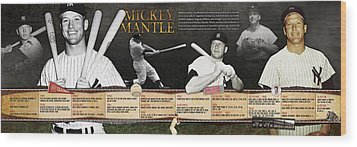 Mickey Mantle Timeline Panoramic Wood Print by Retro Images Archive